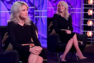 Diletta Leotta a Venus Club: il look è total black ma le scarpe sono tempestate di cristalli