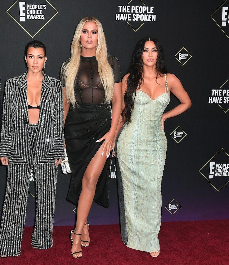 from left Kourtney Kardashian, Khloe Kardashian, Kim Kardashian