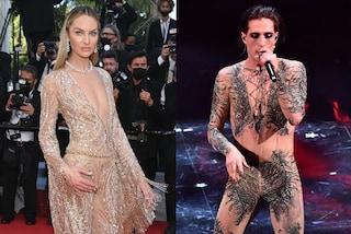 """Candice Swanepoel """"imita"""" i Maneskin: a Cannes indossa la loro stessa tutina nude di Sanremo"""
