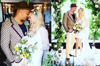 Emma Bunton sposa in minigonna: abito corto e corona di fiori per il matrimonio con Jade Jones