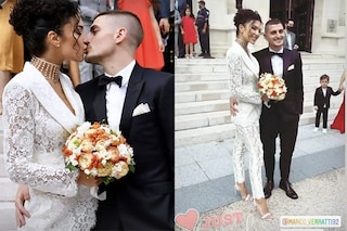 Il matrimonio di Marco Verratti e Jessica Aidi: la sposa è in tailleur con i pantaloni di pizzo