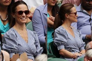 Pippa Middleton prende il posto di Kate: con l'abito a quadretti è regina di stile a Wimbledon