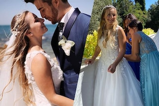 Temptation Island, Claudia sposa Ste con un abito da fiaba: cascata di fiori e coroncina sui capelli