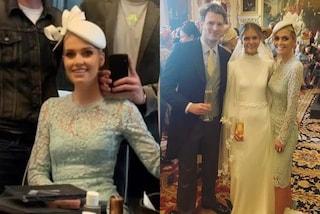 Kitty Spencer regina di stile alle nozze di Jamima Herbert: il suo tubino di pizzo azzurro è un incanto