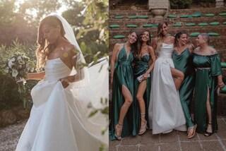 Veronica, la sorella di Giulia De Lellis si è sposata: sull'altare in bianco con velo e maxi spacco