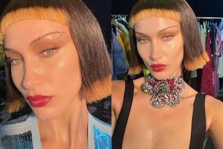 Bella Hadid con caschetto bicolor e piercing al sopracciglio: il nuovo look nasconde un trucco