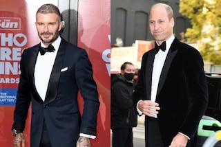 David Beckham e il principe William in coordinato: sul red carpet sfilano in smoking e papillon