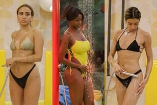 GF Vip 2021, le prime docce delle protagoniste: Ainett col costume sgambato, Soleil in bikini nero
