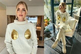 """Chiara Ferragni e il maglione con le coppe d'oro, Fedez commenta: """"Hai rubato le tettine ad Iron Man"""""""