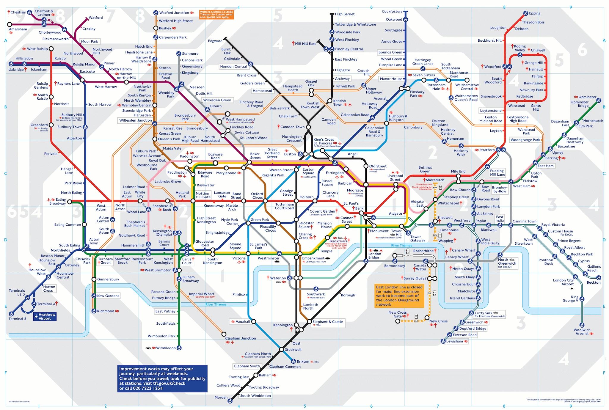 """Mappa della """"Tube"""" (INGRANDISCI LA MAPPA)."""
