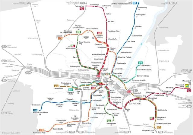 Mappa della u–Bahn di Monaco di Baviera nell'immagine di M. Dörrbecker (clicca qui per ingrandire).