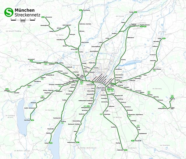 Le sei linee della S–Bahn nell'immagine di M. Dörrbecker (clicca qui per ingrandire la mappa).