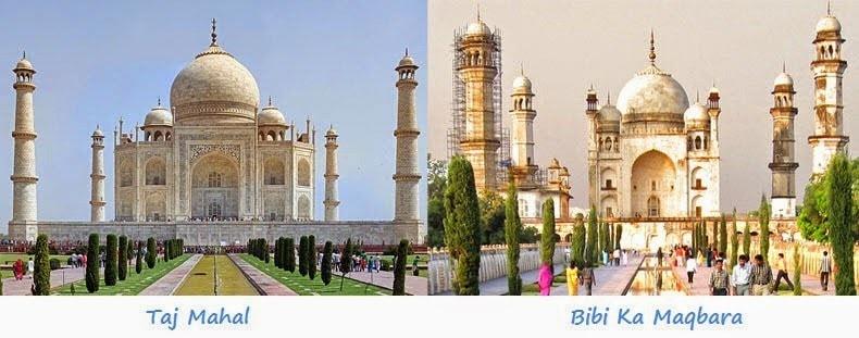 Taj Mahal e Bibi Ka Maqbara a confronto