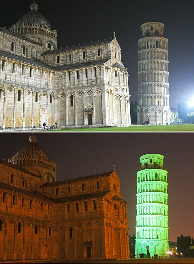 Torre di Pisa prima e durante il Global Greening 2014 (Foto Getty Image).