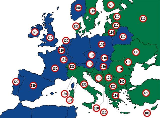 Limiti di velocità in Europa (la differente scelta cromatica corrisponde ai colori associati alle autostrade).
