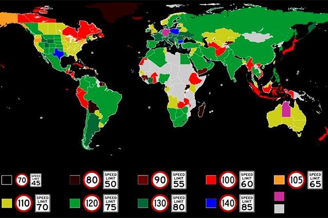 Limiti di velocità nel mondo (rielaborato da @Twitter Amazing_Maps).