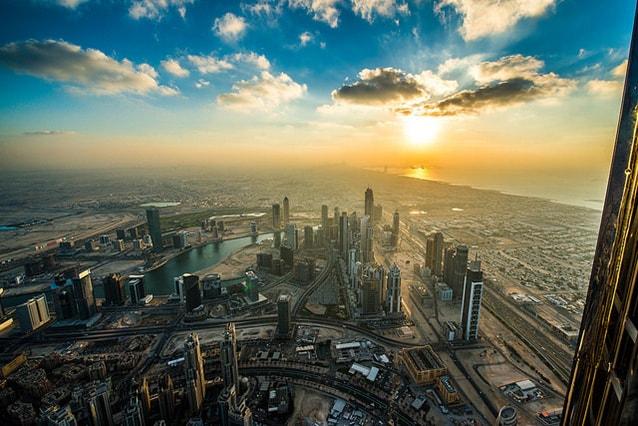 Vista di Dubai dal Burj Khalifa.