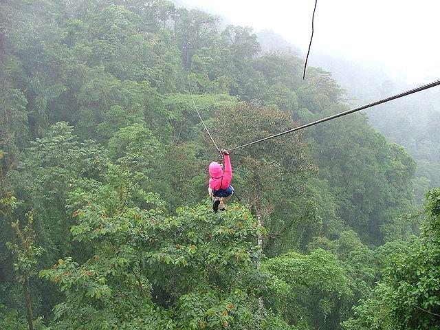 """Il canopy (la nostra """"teleferica"""") è un divertente ed ecologico sistema di trasporto molto in uso in Costa Rica (Foto da Wikipedia)."""