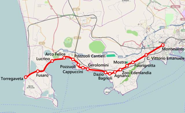 FerroviaCumana: Lucrino e Fusaro sono le due stazioni utili per raggiungere l'area di nostro interesse, mentre Torregaveta vi porta sulle spiagge dell'altro lato della penisola.