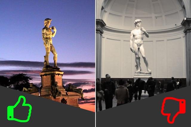 SÌ Piazzale di Michelangelo, NO Galleria dell'Accademia (da sinistra foto da Wikipedia e di Clayton Tang).