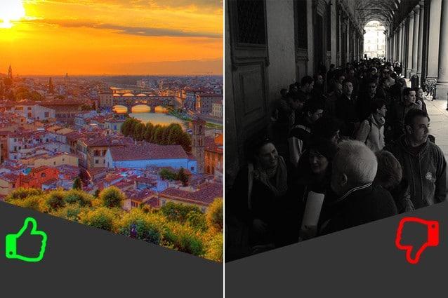 SÌ Giro in città, NO Galleria degli Uffizi (da sinistra foto di Jiuguang Wang e Mark Leicester).