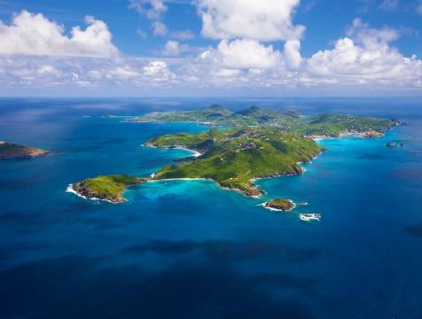 Vista aerea dell'isola di Saint Barth