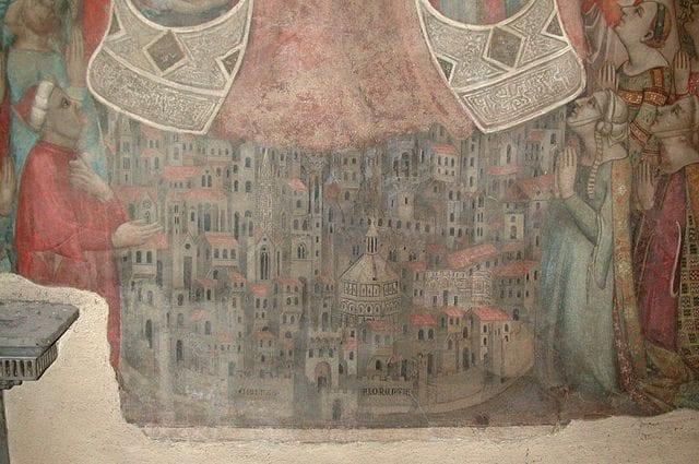 La veduta più antica di Firenze nell'affresco della Madonna della Misericordia (1342) – Foto Wikimedia Commons