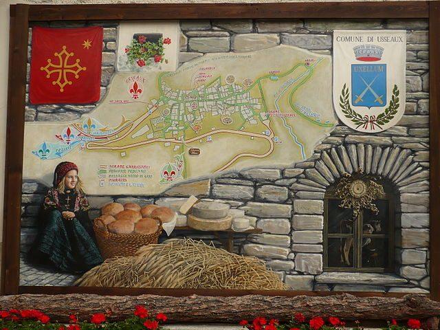 Il murales posto all'ingresso di Usseaux – Foto Wikipedia