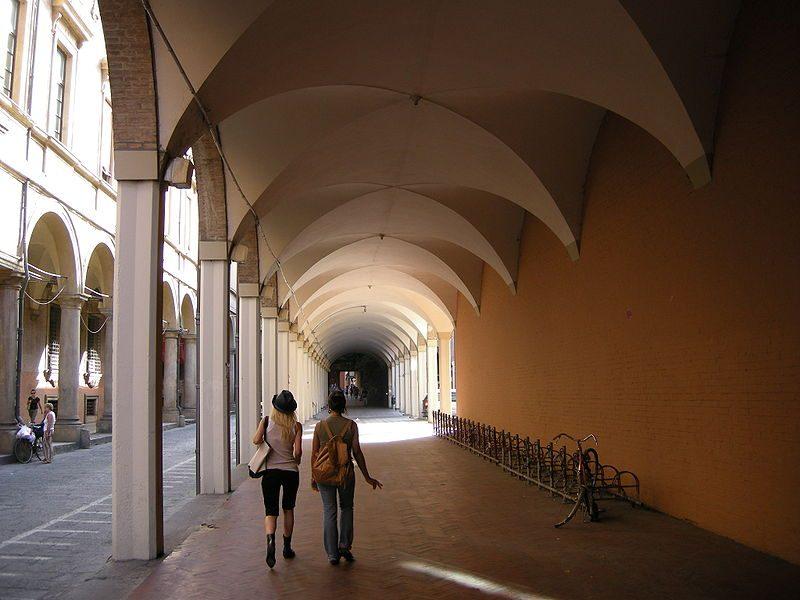 Bologna, portici di via zamboni