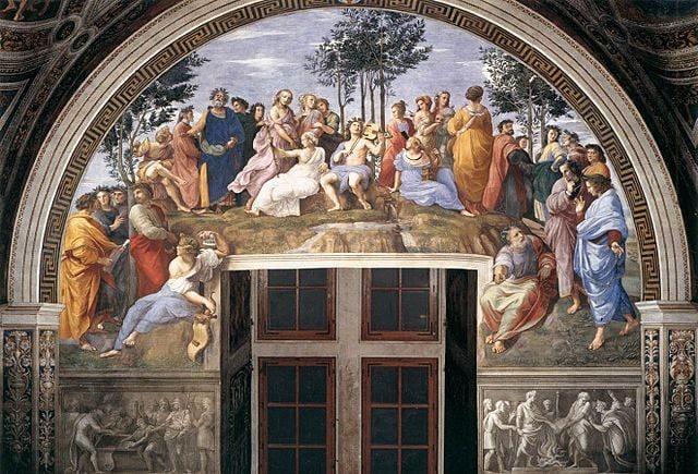 Raffaello, Parnaso, Musei Vaticani – Foto Wikipedia