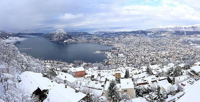 Lugano, Svizzera ricoperta dalla neve in inverno