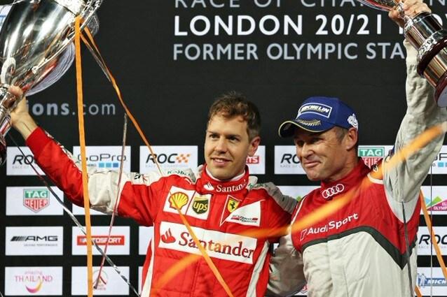 Sebastian Vettel sul gradino più alto del Roc 2015 insieme a Tom Kristensen (raceofchampions.com)