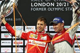 Vettel in pista nella Race of Champions 2019, insieme al pilota della Ferrari anche Coulthard