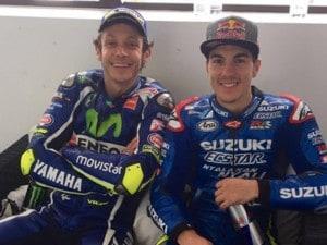 Valentino Rossi e Maverick Vinales insieme a Le Mans / Twitter @MotoGp