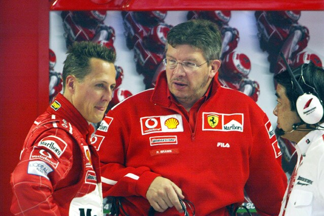 Ross Brawn con Michael Schumacher ai tempi della Ferrari