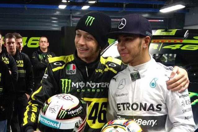 Valentino Rossi e Lewis Hamilton al Monza Rally Show 2014