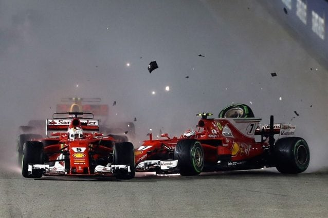 L'incidente tra le Ferrari di Sebastian Vettel e Kimi Raikkonen con Max Verstappen