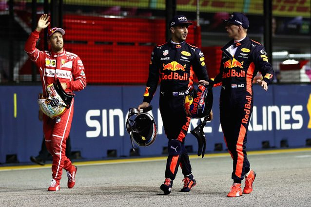 Vettel, Ricciardo e Verstappen a Singapore – Getty Images