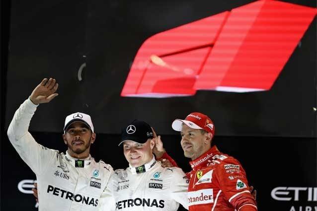 Lewis Hamilton, Valtteri Bottas e Sebastian Vettel sul podio di Abu Dhabi / Getty Images