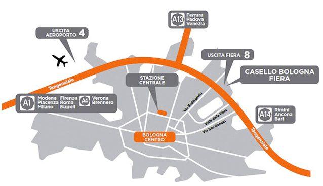 Mappa del Motor Show di Bologna.