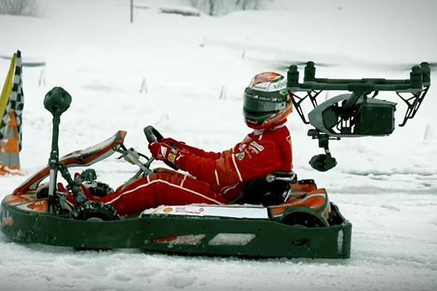 Kimi Raikkonen sfida un drone