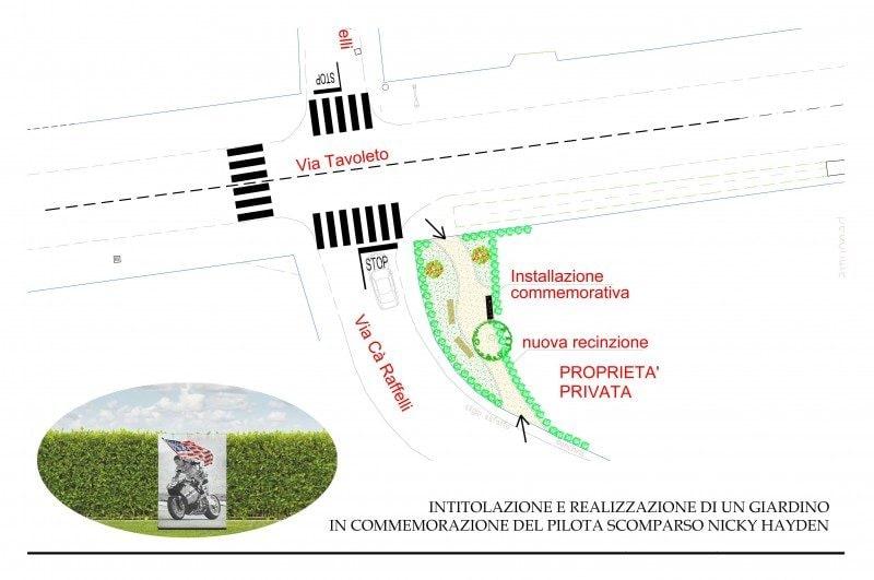 """Il progetto del """"Giardino Nicky Hayden"""" / Comune di Misano"""