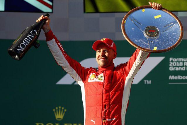 Sebastian Vettel festeggia la vittoria in Australia – Getty images