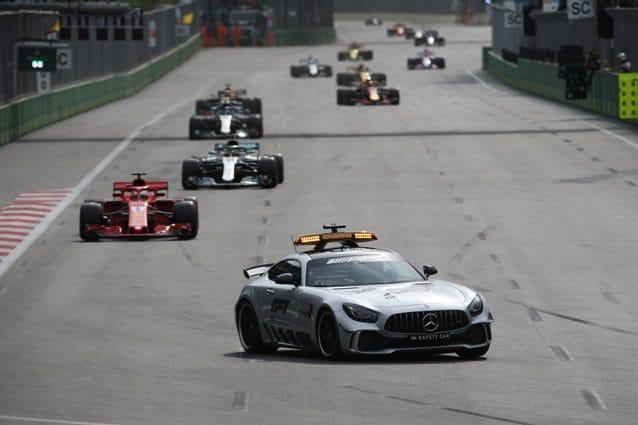 La safety car impegnata durante il GP d'Azerbaijan – LaPresse