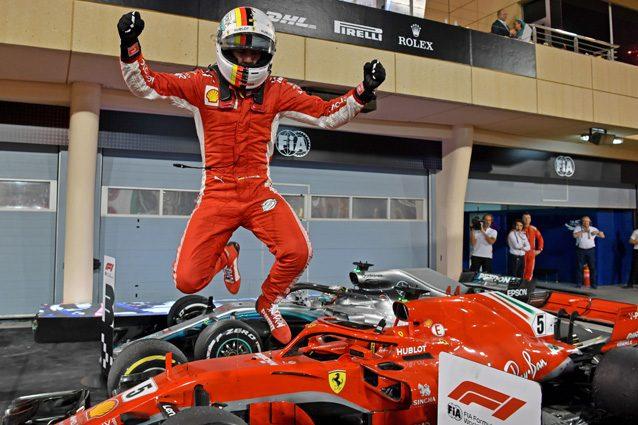 Vettel festeggia la vittoria in Bahrain – Getty images