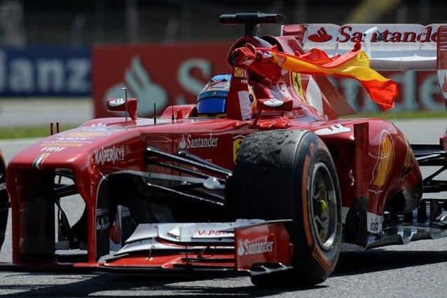 Alonso festeggia la vittoria in Spagna nel 2013 – Getty images