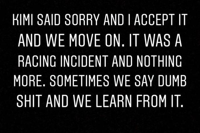Il messaggio di Hamilton su Instagram