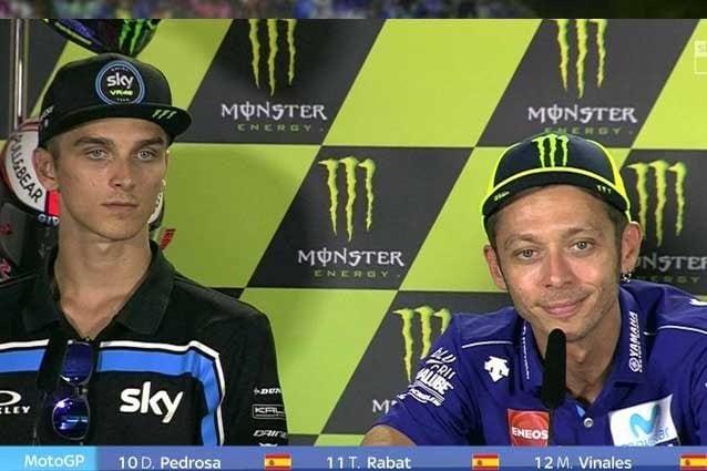 Luca Marini e Valentino Rossi in conferenza stampa / MotoGP.com
