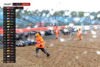 MotoGP, pioggia e caos a Silverstone: caduta multipla, Rabat a terra dolorante