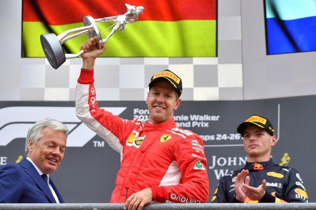 Sebastian Vettel festeggia la vittoria a Spa – Getty images